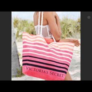 NEW VICTORIA'S SECRET TOTE Pink Black-and-white